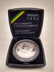 1992 - 2000 Cruzeiros - Eco 92 - Meio Ambiente e Desenvolvimento - Prata .925 - Aprox. 27g - 40mm
