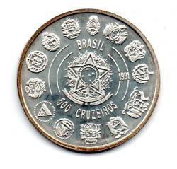 1992 - 500 Cruzeiros - V Centenário do Descobrimento da América - Encontro de Dois Mundos - Prata .925 - Aprox. 27g - 40mm