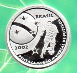 2002 - 5 Reais - Comemorativa Pentacampeonato Mundial de Futebol - Prata .999 - Aprox. 28g - 50mm