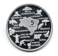 2014 - 5 Reais - Comemorativa Copa do Mundo 2014 - Estádios - Prata .925 - Aprox. 27g - 40mm
