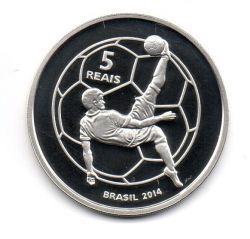 2014 - 5 Reais - Comemorativa Copa do Mundo 2014 - Mascote Fuleco - Prata .925 - Aprox. 27g - 40mm
