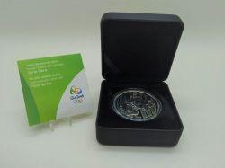 2015 - 5 Reais - Comemorativa Olimpíadas 2016 - Orquídea - Remo na Lagoa - Prata .925 - Aprox. 27g - 40mm