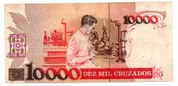 C196 - 10000 Cruzados - ERRO DE CORTE: DESCENTRALIZADA - Carlos Chagas - Data: 1988 - Estado de Conservação: Bem Conservada (BC)