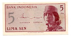 Indonésia - 5 Sen  - Cédula Estrangeira