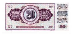 Iugoslávia - 20 Dinara  - Cédula Estrangeira