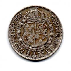 Suécia - 1939 - 1 Krona  - Prata .800 - Aprox 7,5 g -  25 mm