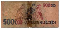 C236 -  500 Cruzeiros Reais (Carimbo sob - 500000 Cruzeiros) - Mário de Andrade - Data: 1993 - Estado de Conservação: Um Tanto Gasta (UTG) - (Obs.: Pode conter: Rasuras / Riscos / Rasgos / Fitas / Dur
