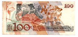 C206 - 100 Cruzados Novos - ERRO DE CORTE: DESCENTRALIZADA - Cecília Meireles - Data: 1989 - Estado de Conservação: MBC/SOB