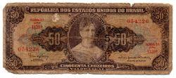 "C115 - 5 Centavos (Carimbo sob 50 Cruzeiros) - 2° Estampa - Série 1129 - Princesa Isabel - Erro: ""Minstro"" - Data: 1966 - UTG"