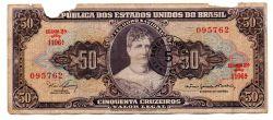 "C115 - 5 Centavos (Carimbo sob 50 Cruzeiros) - 2° Estampa - Série 1106 - Princesa Isabel - Erro: ""Minstro"" - Data: 1966 - UTG"