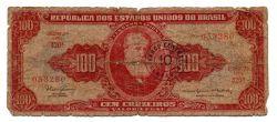 "C117 - 10 Centavos (Carimbo sob 100 Cruzeiros) - 2° Estampa - Série 420 - Dom Pedro II - Erro: ""Minstro"" - Data: 1966 - UTG"