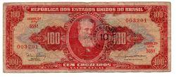 "C117 - 10 Centavos (Carimbo sob 100 Cruzeiros) - 2° Estampa - Série 558 - Dom Pedro II - Erro: ""Minstro"" - Data: 1966 - UTG"