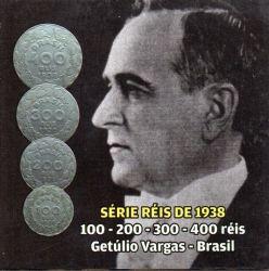 Cartela com Moedas -  100, 200, 300 e 400 Réis 1938 - Getúlio Vargas