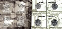 Cartela com Moedas - 4 Moedas - 1, 5, 10 e 50 Centavos Cruzado Novo 1989
