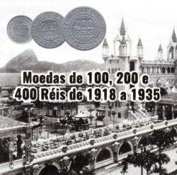Cartela com Moedas - 3 Moedas - 100, 200 e 400 Réis - Data Aleatória