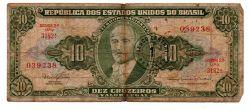 C114 - 1 Centavo (Carimbo sob 10 Cruzeiros) - 2° Estampa - Série Aleatória - Getúlio Vargas - Data: 1967 -  Estado de Conservação: Um Tanto Gasta (UTG) - (Obs.: Pode conter: Rasuras / Riscos / Rasgos