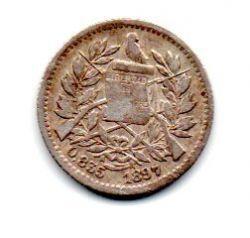 Guatemala - 1897 - ½ Reales - Prata .835 - Aprox 1,5 g - 15 mm
