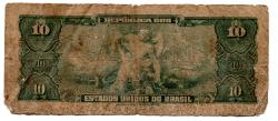 C019 - 10 Cruzeiros - 1° Estampa - Série 405 - Numeração 090030 - Getúlio Vargas - Data: 1961- UTG