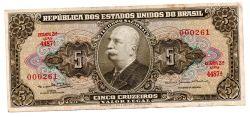 C074b - 5 Cruzeiros - 2° Estampa - Série 4487 - Numeração : 000261 - Barão do Rio Branco - Data: 1964 - MBC/SOB