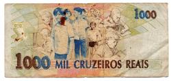 C238 - 1000 Cruzeiros Reais - Anísio Teixeira - Data: 1993 - Estado de Conservação: Bem Conservada (BC)