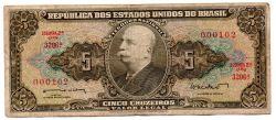 C071 - 5 Cruzeiros - 2° Estampa - Série 3206 - Numeração 000102 - Barão do Rio Branco - Data: 1962 - BC