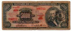 C123 - 5 Cruzeiros Novos (Sobre 5000 Cruzeiros) - 1° Estampa - Série 2829 - Tiradentes - Data:1967 - R