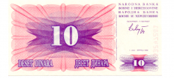 Bosnia Herzegovina - 10 Dinara - Cédula Estrangeira