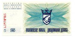 Bosnia Herzegovina - 25 Dinara - Cédula Estrangeira