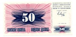 Bosnia Herzegovina - 50 Dinara - Cédula Estrangeira