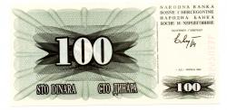 Bosnia Herzegovina - 100 Dinara - Cédula Estrangeira