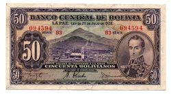 Bolívia - 50 Bolivianos - Cédula Estrangeira