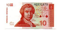 Croácia - 10 Dinara - Cédula Estrangeira