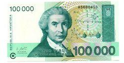 Croácia - 100.000 Dinara - Cédula Estrangeira