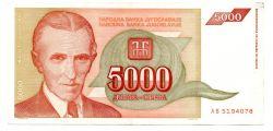 Iugoslávia - 5.000 Dinara - Cedula Estrangeira