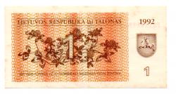 Lituânia - 1 Talonas - Cédula Estrangeira