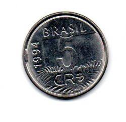 1994 - 5 Cruzeiros Reais - ERRO : Cunho Quebrado - Moeda Brasil