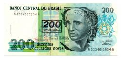 C212 - 200 Cruzeiros (Carimbo sob 200 Cruzados Novos) - Efígie da República - Data: 1990 - Estado de Conservação: Soberba/Flor (SOB/FE)