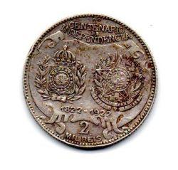 """1922 - 2000 Réis - Prata .900 - Comemorativa Centenário da Independência - Variante D.Pedro. I. (Dois pontos) - """"A Sem Traço""""  - Moeda Brasil"""