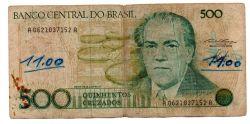 C189 - 500 Cruzados - Villa Lobos - Data: 1986 - Estado de Conservação: Um Tanto Gasta (UTG) - (Obs.: Pode conter: Rasuras / Riscos / Rasgos / Fitas / Durex / Etc...)