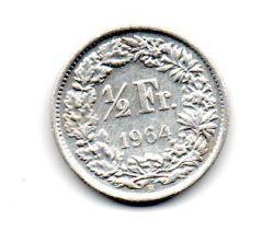 Suíça - 1964 - ½ Francs - Prata .835 - Aprox. 2,5 g - 18mm