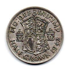 Grã-Bretanha - 1942 - ½ Crowns - Prata .500 - Aprox 14,13 g - 32,3 mm