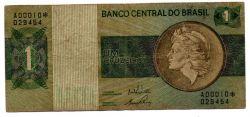 C129a - *Asterisco - 1 Cruzeiro - Cédula de Reposição - Série A00010* - Data: 1970 - BC