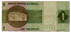 C129a - *Asterisco - 1 Cruzeiro - Cédula de Reposição - Série A00020* - Data: 1970 - BC
