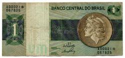 C129a - *Asterisco - 1 Cruzeiro - Cédula de Reposição - Série A00021* - Data: 1970 - MBC