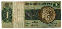 C129a - *Asterisco - 1 Cruzeiro - Cédula de Reposição - Série A00037* - Data: 1970 - BC