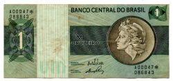 C129a - *Asterisco - 1 Cruzeiro - Cédula de Reposição - Série A00047* - Data: 1970 - MBC/SOB