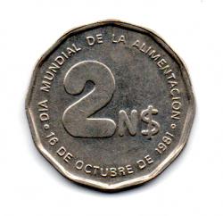 Uruguai - 1981 - 2 Nuevos Pesos Comemorativa (F.A.O. - Dia Mundial da Alimentação)