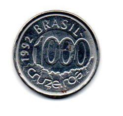 1992 - 1000 Cruzeiros - Moeda Brasil - Estado de Conservação: Muito Bem Conservada (MBC)