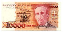 C203 - 10 Cruzados Novos (Carimbo sob 10000 Cruzados) - Carlos Chagas - Data: 1990 - Estado de Conservação:  Soberba (Sob)