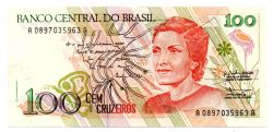 C207 - 100 Cruzados Novos - Cecília Meireles - Data: 1989 - Estado de Conservação: Soberba (SOB)